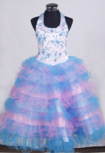 Beading Appliques Little Girl Pageant Dresses Ruffled