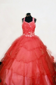 Red Little Girl Pageant Dresses Straps Off the Shoulder