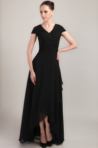 Black Column Sheath Short Sleeves Chiffon Mother Dress