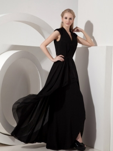 Black Column Mother of the Bride Dress Column V-neck