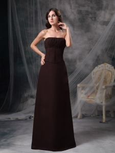 Brown Mother Of Brides Dress Column Strapless Satin