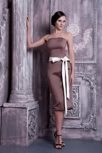 Sash Bridesmaid dress Brown Strapless Tea-length Column