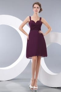 Bridesmaid dresses Burgundy Straps Knee-length Chiffon Ruch