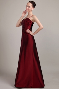 Spaghetti Mother of the Bride Dress Burgundy Strap