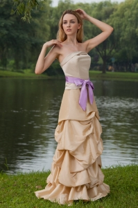 Champagne Bridesmaid Dresses Strapless Floor-length