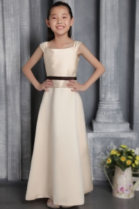 Champagne Column Square Satin Flower Girl Dress