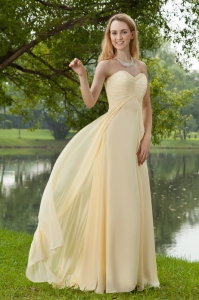 Empire Sweetheart Yellow Brush Chiffon Bridesmaid dresses
