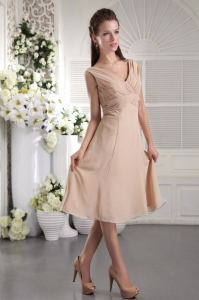 Champagne Bridesmaid dresses Empire V-neck Chiffon