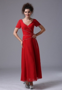 Chiffon Mother of the Bride Dress V-Neck Column Red