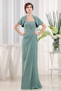 Green Sweetheart Chiffon Ruch Mother Of The Bride Dress