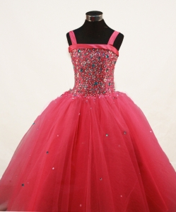 Red Straps Little Girl Pageant Dress Beading Tulle Ball Gown