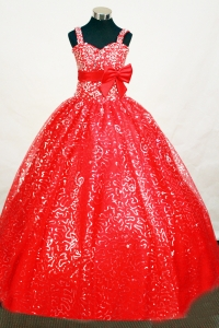 Red Flower Girl Pageant Dress Sequin Belt Wide Straps