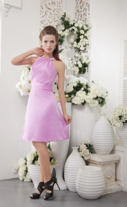 Lavender Empire High-neck Bridesmaid dresses
