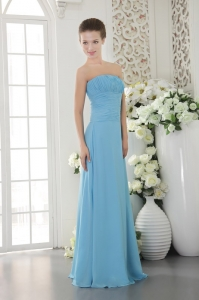 Light Blue Empire Floor-length Ruch Bridesmaid dresses