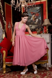 Tea-length Bridesmaid dress Light Pink Halter Chiffon Beading