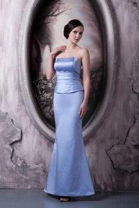 Ankle-length Bridesmaid dress Satin Ruched Strapless Column