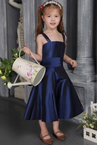 Tea-length Satin Navy Blue Flower Girl Dresses