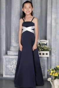 Navy Blue Straps Floor-length Flower Girl Dress