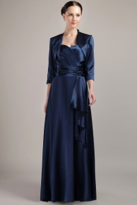 Empire Navy Blue Taffeta Mother of the Bride Dress