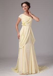 Floral Mother Of The Bride Dress Chiffon Light Yellow
