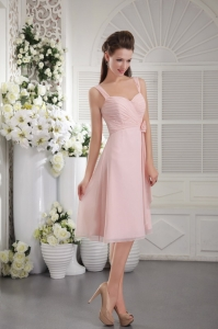 Pink A-Line Bridesmaid dresses Princess Straps Chiffon