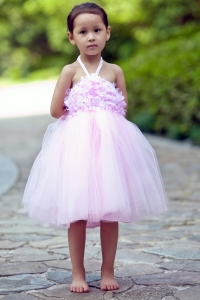Pink Flower Girl Dress Halter Tulle A-line