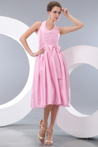 Halter Taffeta Pink Tea-length Chief Bridesmaid Dress