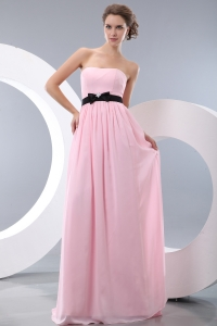 Chiffon Strapless Pink Maid of Honor Dress