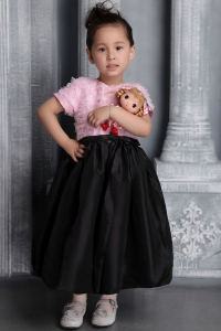 Scoop Tea-length Pink and Black Taffeta Ruffes Flower Girl Dress