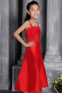 Tea-length Wide Straps Red Little Girls Pageant Dresses