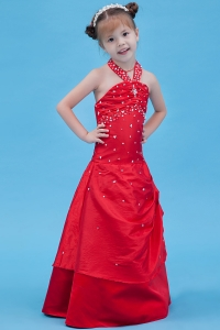 A-line Halter Taffeta Beading Flower Girl Dress