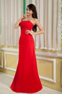 Column Strapless Red Chiffon Ruch Bridesmaid Dresses