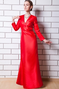 V-neck Mother Of The Bride Dress Red Taffeta Column