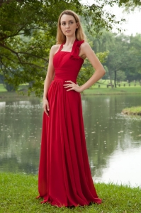 Red Empire Bridesmaid Dresses Halter Brush Train