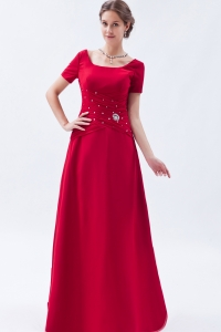 Red Mother Of The Bride Dress Short Sleeves Beading Scoop