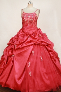 Appliques Little Girl Pageant Dress Red Pick-ups Spaghetti Straps
