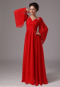 Red V-neck Appliques Mother Of The Bride Dress