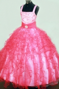 Ruffles Beading Ball Gown Square Floor-length Organza