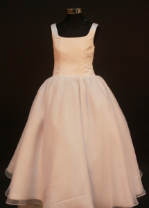 Princess Champagne Flower Girl Pageant Dress With Straps