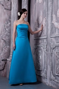 A-line Strapless Floor-legnth Satin Bridesmaid dresses
