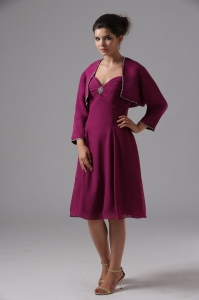 Burgundy Mother of the Bride Dress Chiffon Knee-length