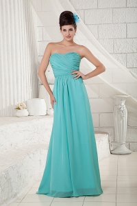 Chiffon Turquoise Bridesmaid dress Sweetheart Ruched Empire