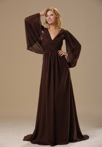 Brush Train Mother Of The Bride Dress Brown Modest