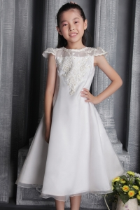 First communication dress White Tea-length Tulle Lace