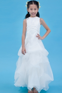 White A-line Organza Appliques Flower Girl Dress