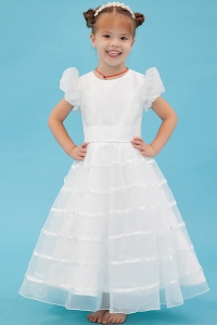Scoop Ankle-length White Organza Flower Girl Dress