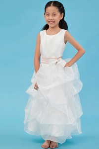 White Scoop Ankle-length Organza Sash Flower Girl Dress