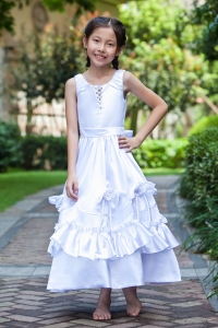 White Scoop Ankle-length Taffeta Flower Girl Dress