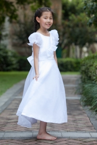 A-line Scoop Flower Girl Dress Ankle-length Taffeta