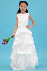Taffeta Appliques White Scoop Flower Girl Dress